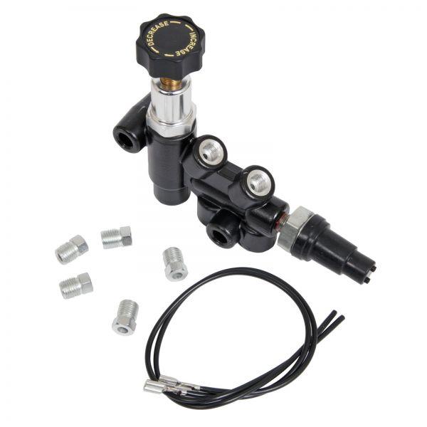 Bremsdruckregelventil - Aluminium - Schwarz - Einstellbar - Inkl. Bremslichtschalter