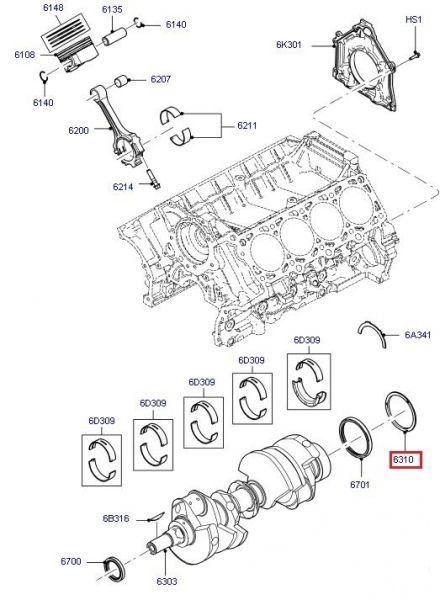 11-12 Ford Mustang (5.4) Ölschleuderring Motor