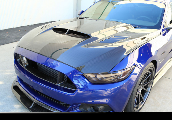 15-17 Ford Mustang Motorhaube - AB-Style - Carbon - Mit Luftauslass - Beschädigt