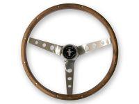 Lenkrad - Grant Classic - 15 Zoll - Edelstahl/Walnuss Gelocht - Mit Logo