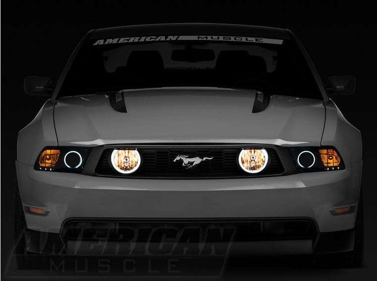 05-09 Mustang Chrome Halo Projector Headlights+6-LED Bumper Fog Lamps