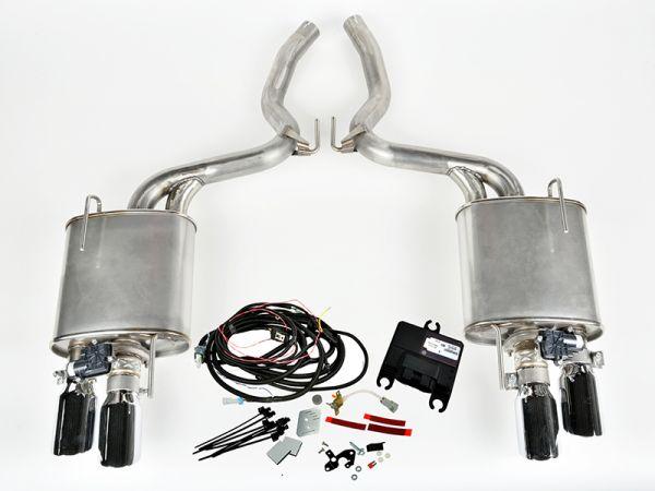 15-17 Ford Mustang Cabrio/Coupe - (5.0)  Klappenabgasanlage - Roush - 4-Rohr - Chrom Auspuffblenden
