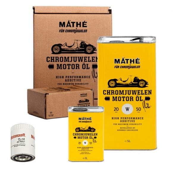 64-73 Ford Mustang  Ölwechsel Set - 6 Liter Mathe Chromjuwelen 20W50 + Filter