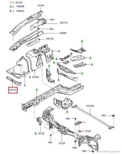 05-14 Ford Mustang Halter Kotflügel - Rechts