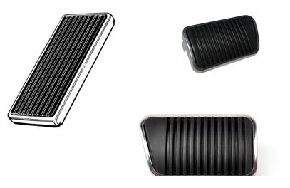 65-68 Ford Mustang Pedalauflagen für Brems-, Kupplungs- und Gaspedal Schaltgetriebe, Trommelbremse