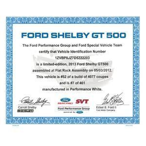 07-14 Ford Mustang Shelby GT500 Technisches Handbuch - Echtheitszertifikat