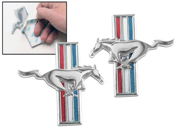 64-66 Ford Mustang Emblem Kotflügel - Tri-Bar Pony zum Kleben