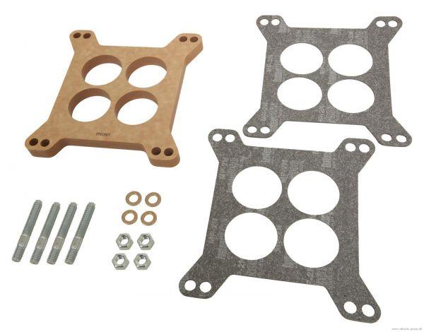 Isolierflansch Vergaser - 1/2 Zoll Stärke - Phenolharz-Holz-Verbundwerkstoff - Set