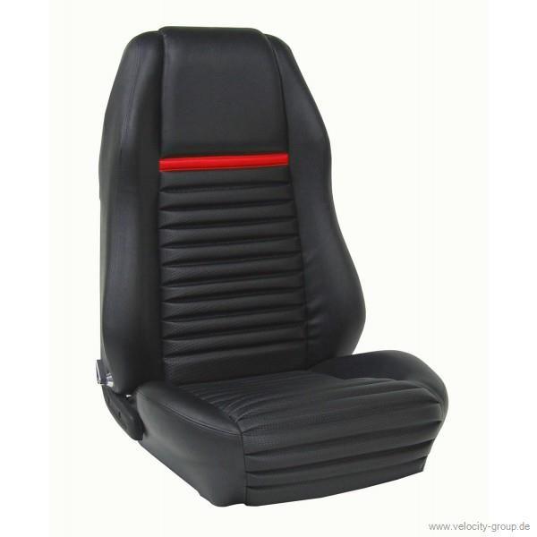 69 Coupe Mach 1 Shelby Sportsitze Sitzbezüge Komplettset Black with Black Stripe