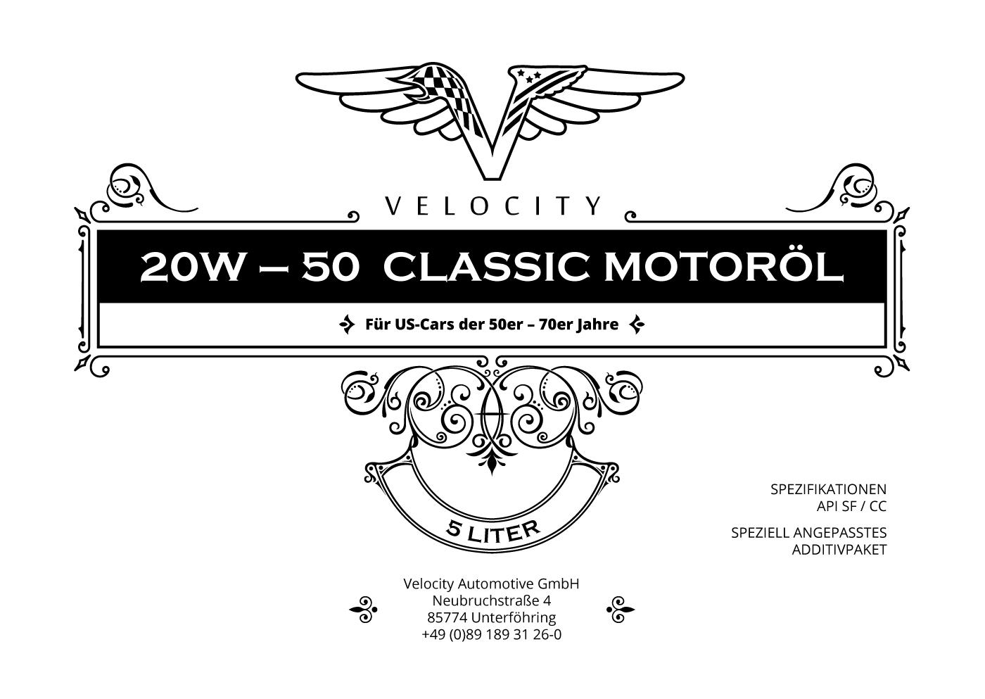Engine Oil - Velocity US-Car Vintage 20W50 5L