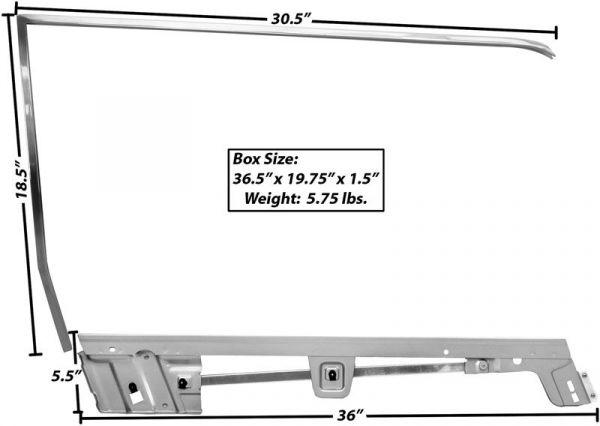 67-68 Ford Mustang Cabrio Rahmen Türscheibe - Rechts
