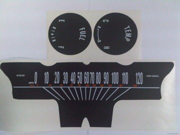 64-65 Tachoscheiben mit km/h Tacho - schwarz
