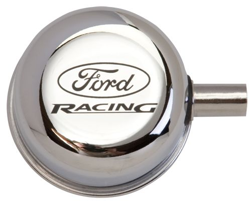 Öldeckel - Ford Racing Logo - Chrom - Gesteckt - Mit Entlüftung