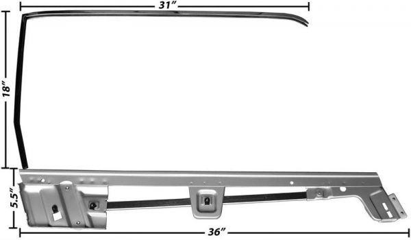 67-68 Ford Mustang Coupe Rahmen Türscheibe - Rechts