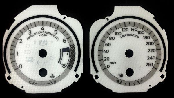 15-17 Ford Mustang Instrumentenscheiben - Weiß Carbon bis 260 km/h