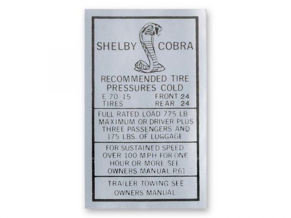 67-68 Shelby Aufkleber Warnhinweis Reifendruck