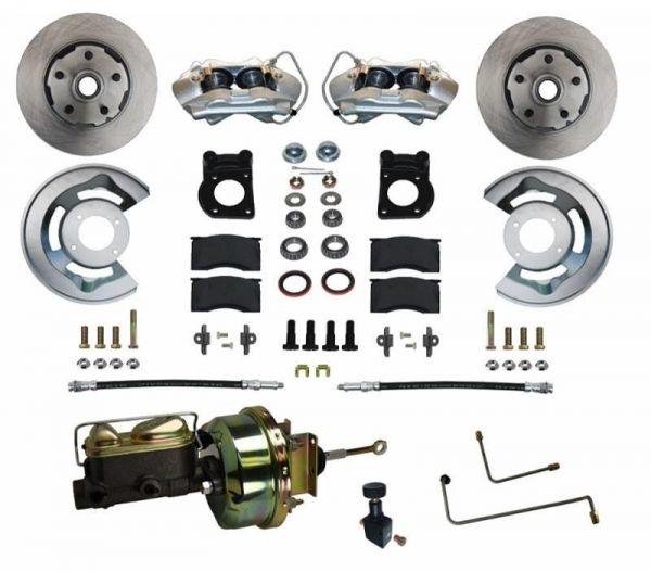 64-66 Ford Mustang Umrüstsatz Bremsanlage - Vorne - Glatt - Mit HBZ und mit BKV - Automatikgetriebe