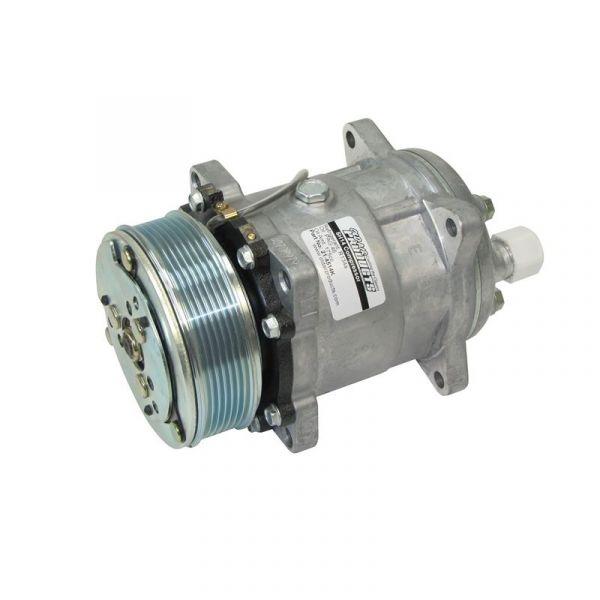 Klimakompressor - Sanden 508 - R134a - Flachrippenriemen - Anschlüsse hinten