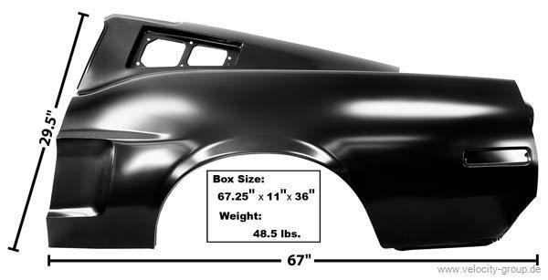 1968 Ford Mustang Fastback Seitenwand - Links mit Einbuchtung