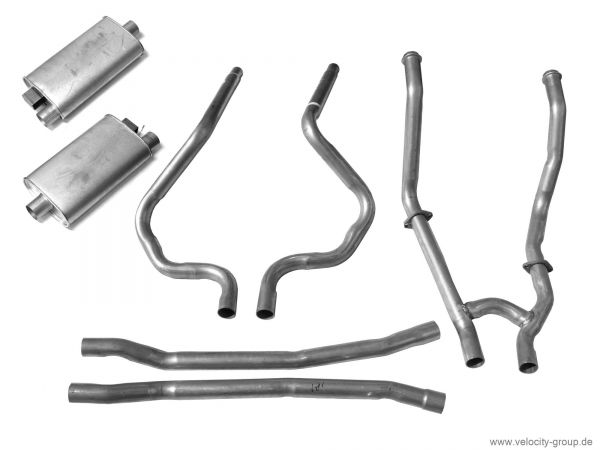 64-68 Ford Mustang Coupe/Fastback Abgasanlage komplett - Stahl - 2 Zoll