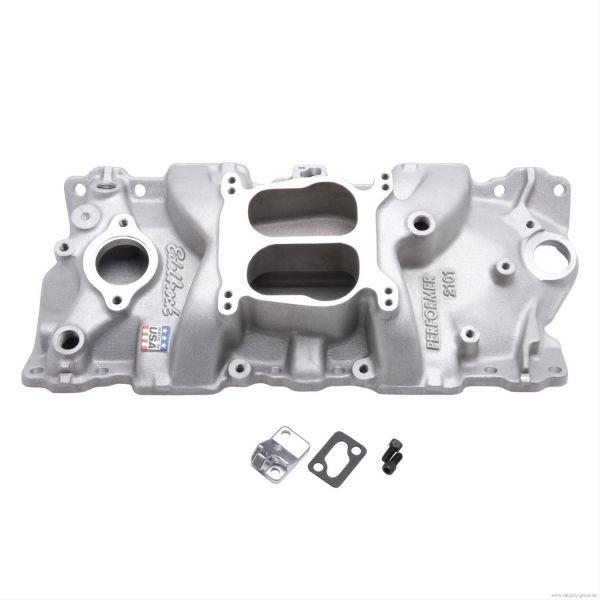 55-86 Chevrolet/Pontiac/... Ansaugkrümmer - Edelbrock Performer - Aluminium - Unbehandelt