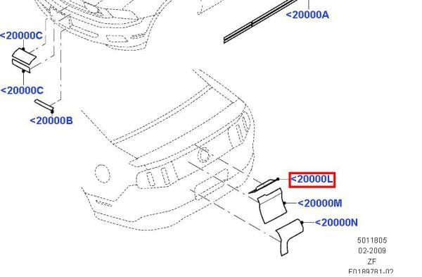 07-12 Shelby GT500 Aufkleber für Heckklappe bei Emblem - rot