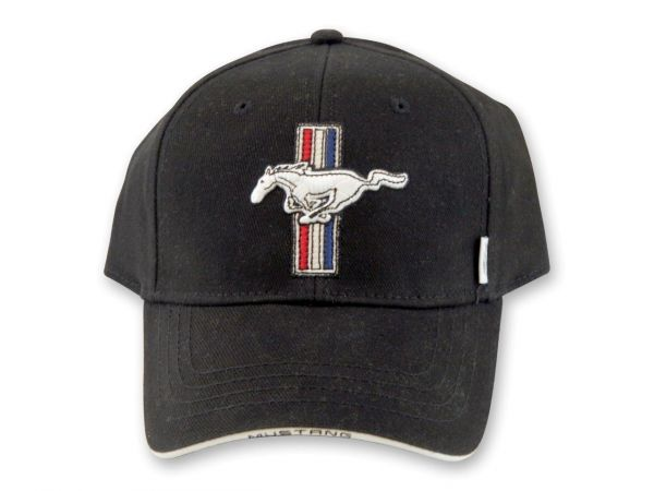 Ford Mustang Baseball Cap - Tri-Bar Pony - Schwarz