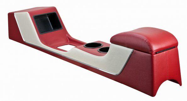 64-66 Ford Mustang Cabrio Mittelkonsole - Konsole Deluxe - Lang - Rot/Weiß - Vinyl - mit Klima