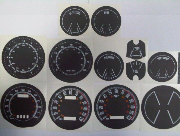 69-70 Tachoscheiben mit km/h Tacho - schwarz