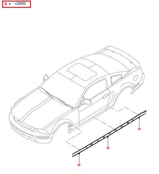 """05-09 V6 """"Mustang"""" Schriftzug für Seite rechts - Pearl Gold"""
